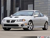 2005 Pontiac GTO = 270 kph, 408 bhp, 5.1 sec.