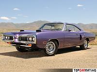1970 Dodge Coronet R/T Hemi Hardtop Coupe = 220 kph, 425 bhp, 5.6 sec.