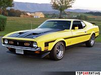 1971 Ford Mustang Boss 351 = 200 kph, 335 bhp, 5.8 sec.