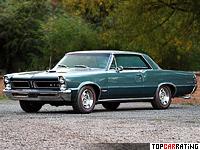 1965 Pontiac GTO Hardtop Coupe = 182 kph, 360 bhp, 6.6 sec.