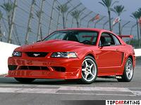 2000 Ford Mustang SVT Cobra R = 274 kph, 390 bhp, 4.7 sec.