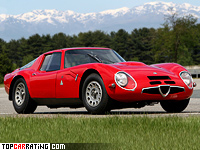 1965 Alfa Romeo Giulia TZ2 = 245 kph, 170 bhp, 7 sec.