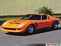 1971 Lamborghini Miura P400 SVJ = 290 kph, 385 bhp, 4.5 sec.