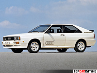 1980 Audi quattro = 220 kph, 197 bhp, 7 sec.