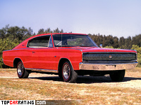 1966 Dodge Charger 383 = 195 kph, 325 bhp, 8.9 sec.