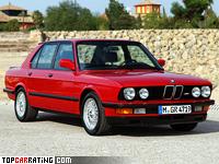 1985 BMW M5 (E28) = 245 kph, 286 bhp, 6.9 sec.
