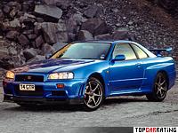1999 Nissan Skyline GT-R V-spec (BNR34) = 250 kph, 280 bhp, 5 sec.