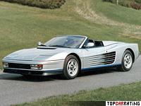 1986 Ferrari Testarossa Spider Pininfarina = 290 kph, 396 bhp, 5.3 sec.