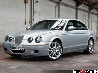 2002 Jaguar S-Type R = 250 kph, 393 bhp, 5.6 sec.