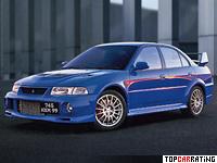 1999 Mitsubishi Lancer GSR Evolution VI = 245 kph, 280 bhp, 5.2 sec.