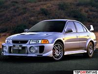 1998 Mitsubishi Lancer GSR Evolution V = 243 kph, 280 bhp, 5.3 sec.