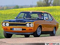 1971 Ford Capri RS 2600 = 202 kph, 150 bhp, 7.3 sec.