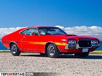 1972 Ford Gran Torino Sport 351 Cobra Jet = 215 kph, 248 bhp, 7.3 sec.