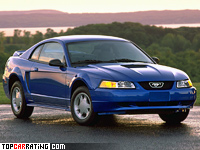1999 Ford Mustang GT Coupe = 221 kph, 264 bhp, 8.1 sec.