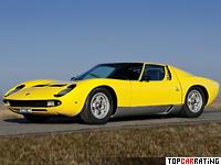 1967 Lamborghini Miura P400 = 277 kph, 350 bhp, 6.7 sec.