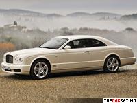 2008 Bentley Brooklands = 296 kph, 537 bhp, 5.3 sec.