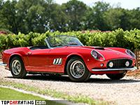 1960 Ferrari 250 GT SWB California = 240 kph, 281 bhp, 8 sec.