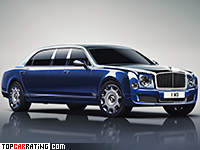 2016 Bentley Mulsanne Grand Limousine by Mulliner = 296 kph, 512 bhp, 5.8 sec.