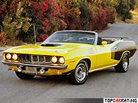 1971 Plymouth Hemi Cuda Convertible = 224 kph, 425 bhp, 6.2 sec.