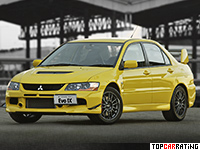 2005 Mitsubishi Lancer Evolution IX = 250 kph, 280 bhp, 5.7 sec.