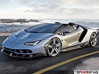 2017 Lamborghini Centenario Roadster = 350 kph, 770 bhp, 2.9 sec.