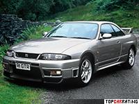 1995 Nissan Skyline GT-R V-spec (BNR33) = 252 kph, 280 bhp, 5.1 sec.