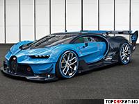 2016 Bugatti Vision Gran Turismo Concept = 400 kph, 1500 bhp, 2.1 sec.