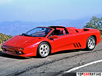 1995 Lamborghini Diablo VT Roadster = 325 kph, 492 bhp, 4.1 sec.