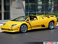 1999 Lamborghini Diablo VT Roadster = 335 kph, 530 bhp, 3.95 sec.