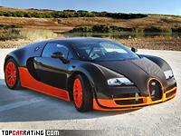 2010 Bugatti Veyron 16.4 Super Sport = 431 kph, 1200 bhp, 2.5 sec.