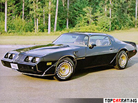 1980 Pontiac Firebird Trans Am Turbo = 224 kph, 210 bhp, 8.2 sec.