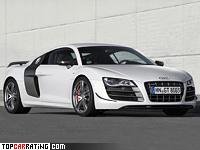 2010 Audi R8 GT = 320 kph, 560 bhp, 3.6 sec.