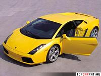 2003 Lamborghini Gallardo = 309 kph, 493 bhp, 4.3 sec.