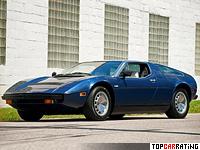 1974 Maserati Bora = 285 kph, 330 bhp, 6.7 sec.