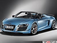 2011 Audi R8 GT Spyder = 317 kph, 560 bhp, 3.8 sec.