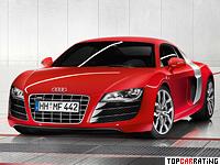 2009 Audi R8 V10 = 316 kph, 525 bhp, 3.9 sec.