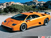 1999 Lamborghini Diablo GT = 338 kph, 575 bhp, 3.8 sec.