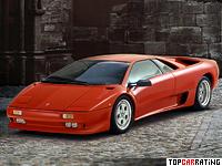 1990 Lamborghini Diablo = 325 kph, 492 bhp, 4.1 sec.