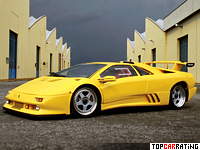 1994 Lamborghini Diablo SE30 Jota = 340 kph, 595 bhp, 3.9 sec.