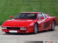 1984 Ferrari Testarossa = 286 kph, 390 bhp, 5.8 sec.