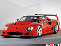 1989 Ferrari F40 LM = 367 kph, 720 bhp, 3.1 sec.