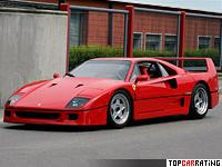 1987 Ferrari F40 = 324 kph, 478 bhp, 4.1 sec.