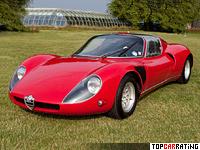 1967 Alfa Romeo Tipo 33 Stradale = 259 kph, 233 bhp, 5.9 sec.
