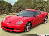 2006 Chevrolet Corvette Z06 = 318 kph, 512 bhp, 3.7 sec.
