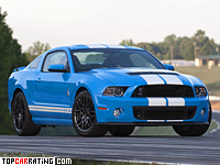 2012 Ford Mustang Shelby GT500 SVT = 322 kph, 671 bhp, 3.9 sec.