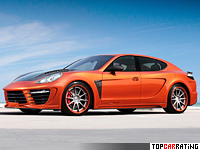 2012 Porsche Panamera TopCar Stingray GTR Orange = 325 kph, 700 bhp, 3.6 sec.