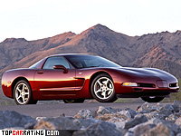 2003 Chevrolet Corvette Coupe 50th Anniversary = 286 kph, 350 bhp, 5.3 sec.