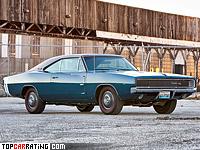 1968 Dodge Charger R/T 426 Hemi = 208 kph, 425 bhp, 6.8 sec.
