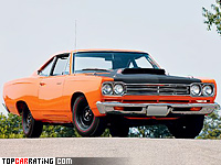 1969 Plymouth Road Runner 440+6 Coupe = 210 kph, 390 bhp, 6.6 sec.