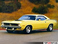 1970 Plymouth Hemi Cuda = 215 kph, 425 bhp, 6 sec.